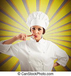 Chef, mujer, delicioso