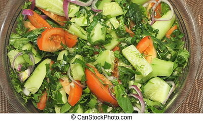 Salad of fresh vegetables. Closeup