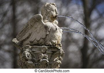 romanza, figura, angelo, Modellato, primavera, seni, acqua, fontana, venuta, jet, bocca, Spagna, fuori