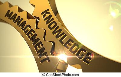 Knowledge Management Concept. Golden Metallic Cogwheels. -...