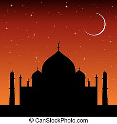 silhouette mosque at sunset with stars and the crescent moon. Islam religion architecture.