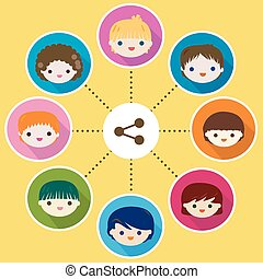kids share - happy kids faces share concept