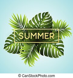 Tropical monstera leaves design for text card. Vector illustration