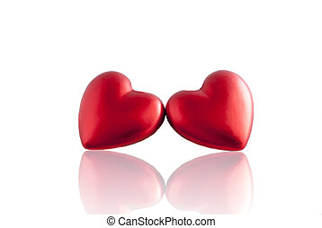 red heart with mirror reflection - Two festive hearts for...