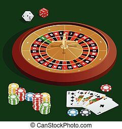 Casino concept. Casino background with cards, chips, craps...