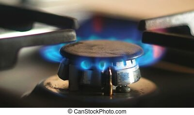 Blue flames of gas burning in a kitchen gas stove. Selective focus.