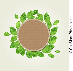 Round label with green leaves