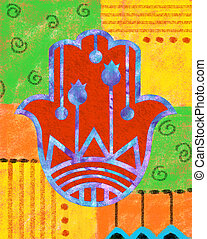 Colorful Hamsa - Decorative hamsa on colorful background.