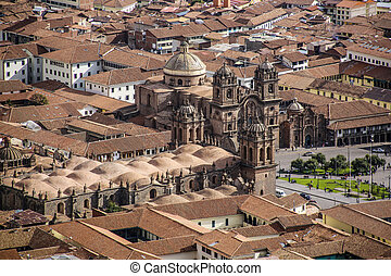 view to cathedral of Cuzco Peru with plaza des armas