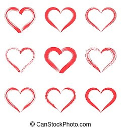 Red vector brush strokes hearts