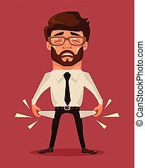 Empty pockets Vector flat cartoon illustration