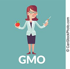 Genetically modified organism. Vector flat illustration