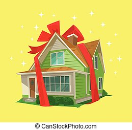 House gift Vector flat illustration