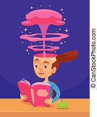 Interesting book Vector flat cartoon illustration