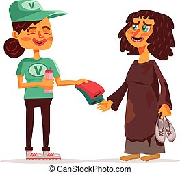 Volunteer and homeless Vector flat cartoon illustration