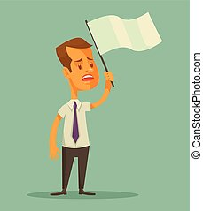 Businessman holds white flag. Vector flat cartoon...