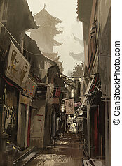 Chinatown alley,painting - Chinatown alley with traditional...