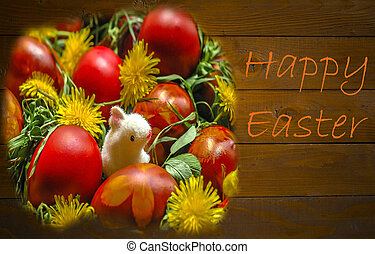 Happy Easter Card - Basket with Easter egs, with herbs,...
