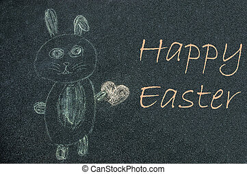 Eastern Bunny drawn by a kid on a street with a Happy Easter...