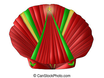Christmas Seashell - A scallop seashell decorated for...