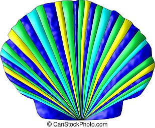 Colors of the Sea Seashell - A scallop seashell decorated in...
