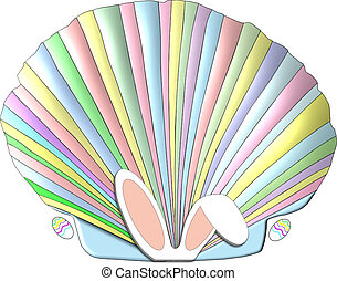 Easter Seashell - A scallop seashell decorated in the pastel...