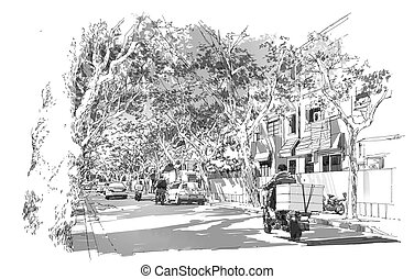 French Concession,Shanghai - sketch of street covered with...
