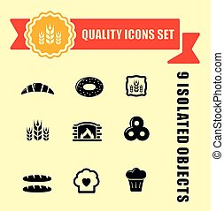 bakery products icons with red tape - set of bakery products...