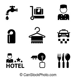 hotel icon services set