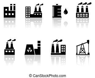 petroleum industry icons - set black isolated petroleum...