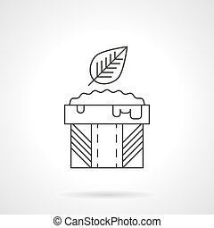 Mexican sauce flat thin line vector icon - Abstract bowl...
