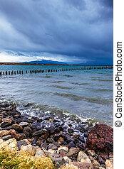 Strait of Magellan in waterfront, Punta Arenas