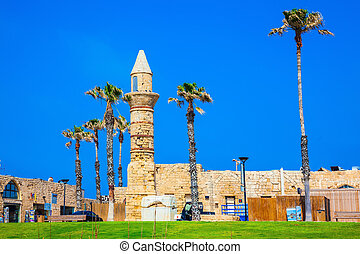 The minaret and walls of Caesarea - The minaret and walls of...