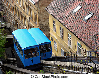 Zagreb funicular - Traditional old blue funicular in Zagreb...