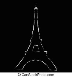 Eiffel tower  Paris made up a lot of diamonds