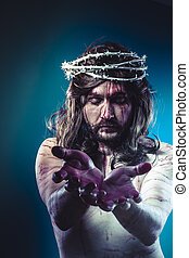 Easter jesus christ, son of god representation with crown of...