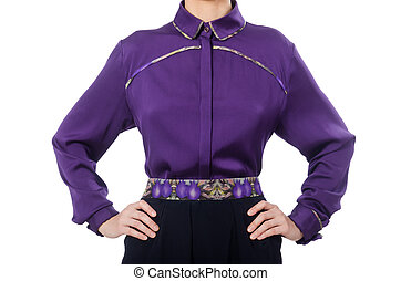 Model wearing purple blouse isolated on white