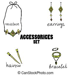 Women boho accessories. hand drawn