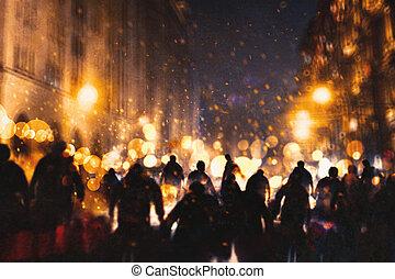 group of zombie walking through burning city,illustration...