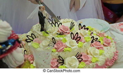 Wedding couple cutting a wedding cake on their wedding day,...