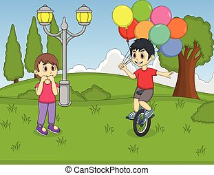 A boy playing unicycle and holding