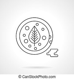 Tomato sauce flat thin line vector icon - Bowl with tomato...