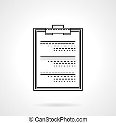 Medical exam flat thin line vector icon - Clipboard with...