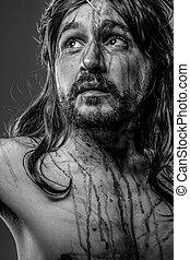 Bibel, darstellung,  Jesus, christus, Kreuz