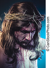 jesus christ, representation of Calvary on the cross with...