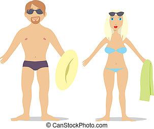 couple in swim suit - fully editable vector illustration of...