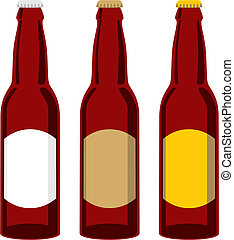 isolated beer bottles set - vector illustration of isolated...