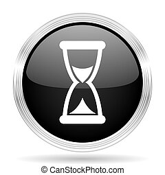 time black metallic modern web design glossy circle icon
