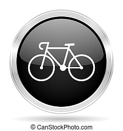bicycle black metallic modern web design glossy circle icon