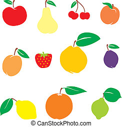 isolated fruits - vector illustration of different fruits